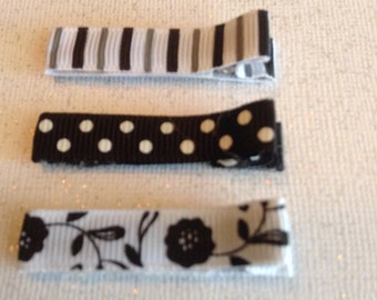 Simple Hair Clips, Girls Hair Bows, Toddlers Hair Clips, Black & White Floral Hair Clips, Clippies, Simple Hair clips (Item 16-132)