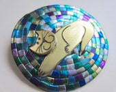 Cat on a Braided Rug Braiding pin in blue, purple, and green brooch