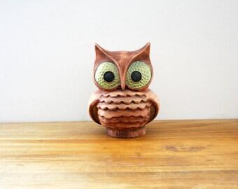 vintage 70s Ceramic Rusty Brown Big Eyed Hoot Owl Figurine