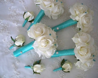 Reserved custom order listing for....Angela Moore.....Real Touch Cream white Roses Wrapped in Aqua Blue Ribbon Bridal Beach Bouquet Set