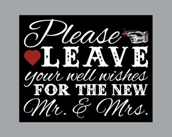"""DIY Printable Sign - Vintage Antique Victorian Cottage Chic Rustic Chalkboard Wedding Reception """"Well Wishes"""" Printable Sign"""