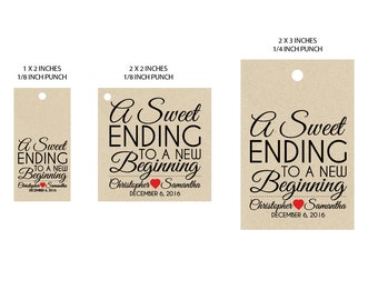 """Customized Wedding Favor Tags - Vintage Victorian Rustic Wedding Reception """"Sweet Ending"""" Candy Buffet Tags Favor Tags"""