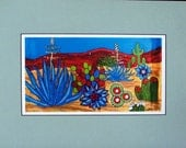 Print of my Original painting of colorful cactus with matt  Linda Kelly