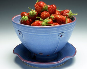 Periwinkle Blue Button Berry Bowl with Saucer - Ceramic Colander
