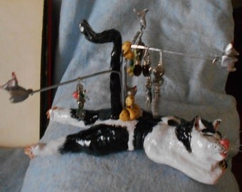 Cat Earring, Holder, Rack, Stand, Storage,  and Key Holder whimsical funny and cute