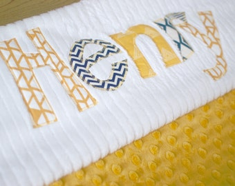 Monogrammed Baby Blanket in FIREFLY, Gold Dot Minky & White Chenille, Personalized with Your Baby Boy's First Name in Tribal Patterns