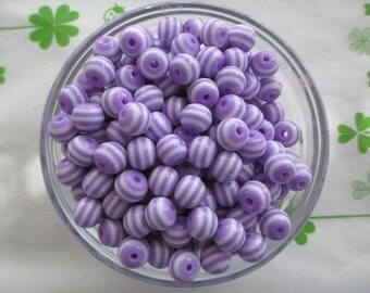 Striped resin beads 40pcs Purple 8mm New item