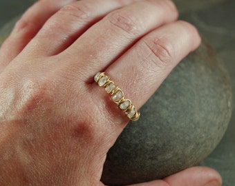 Eternity Style Band Ring - Gold -Moonstone - Size 9.5 - Stacking Rings - Wire Wrap - Semiprecious Ring