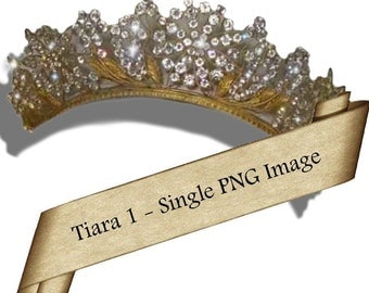 Tiara 2 - 1 PNG INSTANT download images for ACEO, Tags, Collage Art, Altered Art