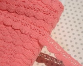 "Pink Cluny Lace - Scalloped Coral Pink Cluny Crochet Trim - 1/2"" Wide"