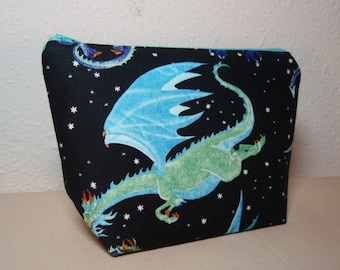 Silly Dragons - Cotton Cosmetic Pen Pencil Zipper Pouch