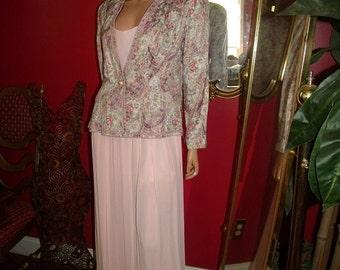 2-pc  Vintage Pale Pink  Flapper Dress   Jacket  Size 14
