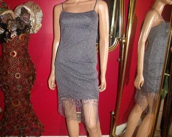 Vintage  90s Flapper Dress Fringes  Lace  Metallic  Tea party  Size S