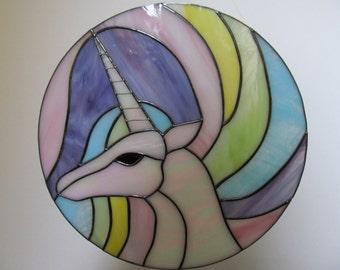 Stained Glass Unicorn Suncatcher