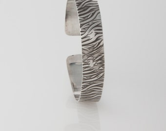 Sterling Silver Cuff Bracelet with Reeds Pattern