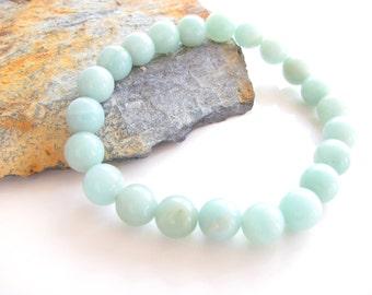 Amazonite Stretch Gemstone Bracelet - Yoga Jewelry, Meditation, Healing