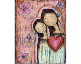 Un Solo Corazón - Folk Art  PRINT from Painting (8 x 10  inches Print) by FLOR LARIOS