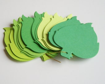 30 Green ombre birch leaf tags, wishing tree tag, leaf hang tag, green leaf, scrapbook embellishment, leaf theme, paper leaf, weddings
