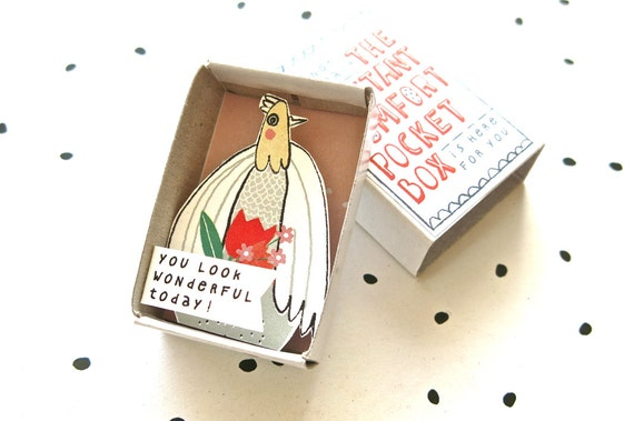 SALE - The Instant Comfort Pocket Box - Dove with flowers - appreciation gift - cheep up box