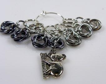 Koala Knitting Stitch Markers - Koala Bear Stitch Markers - Silver and Grey - Chainmaille Stitch Markers - Moebius Stitch Marker
