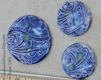 1 Pottery Focal Pendant Bead and 2 accent beads in Monets Garden Deep Cobalt Blue in the Whimsy Pattern