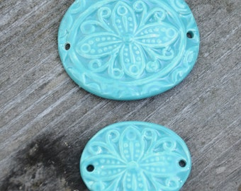 Handmade Pottery Beads 2 piece set in Carribean Blue