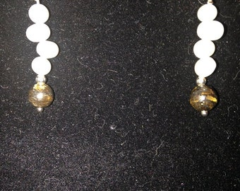 Fresh Water Pearl and Brown Glass Clip On Earrings