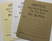 Set of 20 Advice Card - Wedding Card - Wedding Advice Wedding Shower - Bridal Shower -  Bride and Groom Mr. & Mrs. Wish Card