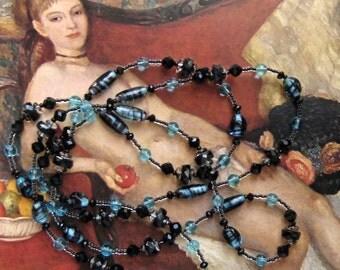 Long Black Bead Necklace, Aqua Black Bead Necklace Long Flapper Necklace, Downton Abbey, Bead Jewelry Black Aqua