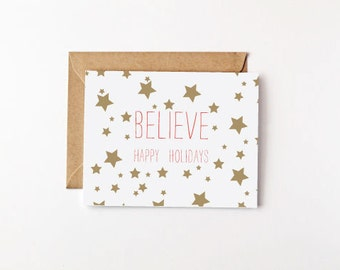 Believe Happy Holidays Eco Friendly Greeting Card Holiday Cards Christmas Cards Star Pattern Recycled Paper Believe Card