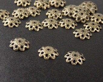 CLEARANCE Bronze Bead Cap 50 Antique Bronze Flower Filigree Victorian 10mm NF (1108cap10z1)os