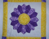 Mug Rug Coaster or Mini Quilt  Purple and Yellow Dresden Plate