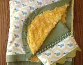 Classic Turtle Minky Blanket and Burp Cloth Set....personalization available