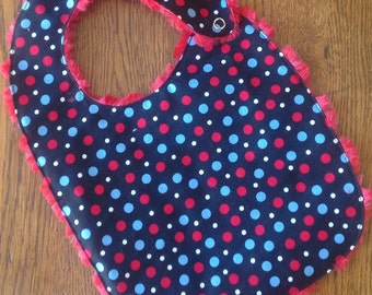 Black with Red White and Blue Polka Dots Baby/Toddler Bib