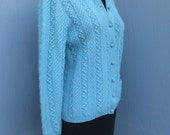 Vintage 1950s/60s Blue Wool Cardigan / Knitted by Hand, size M / The Lilly