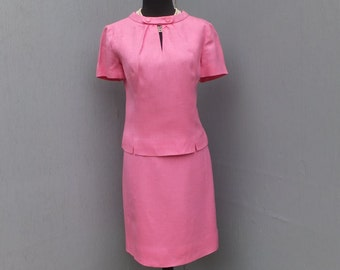 Vintage 60s Suit, Summer Suit,  I. Magnin Two Piece Suit,  Pink Suit