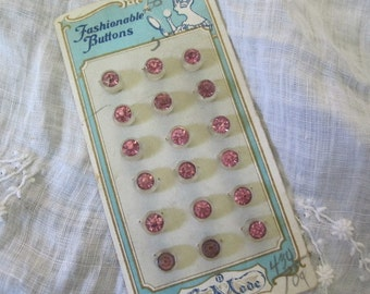 Vintage RHINESTONE Buttons, set of 18   Old Antique Pink Rhinestone in Frosted Glass buttons on Original Card