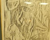 T Rex Pencil Drawing Framed Wall Art  Jurassic Park Paleontologists