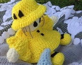 Crochet Doll Bed Doll Raincoat Yellow Doll