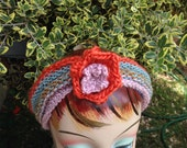 Knit Handmade Headband Turban with Flower in Rainbow of Colors