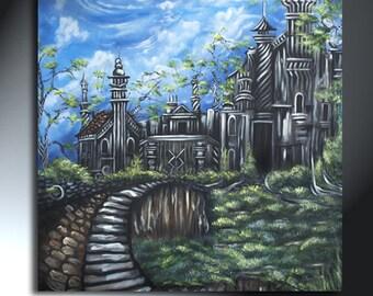 Castle Painting on Canvas Original Landscape Artwork Size 24x24 Striped Tree Art