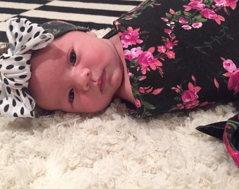 FLORAL Swaddle Blanket // Modern Baby Blanket // Receiving Blanket // MJC0920