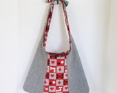 Reversible Bag (Houndstooth Denim with Red, Black and White Gaming Print)