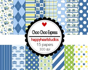 Digital Scrapbook  ChooChooExpress -INSTANT DOWNLOAD