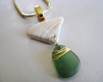 Soft Green Seaglass and Shell Necklace - Sea Glass Pendant - Shell Pendant - Ocean Jewelry Pendant Gift - Sea Shell Pendant with Sea Glass