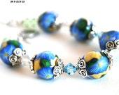 Blue Flower Bracelet with Handmade Polymer Clay Beads, Swarovski Crystals, Designer Jewelry, Fashion Bracelet
