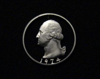 ERROR - cut coin pendant - 1974 - George Washington