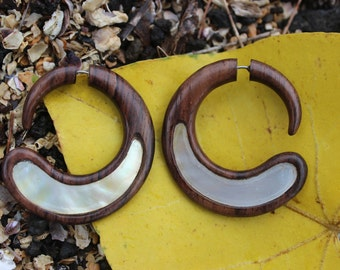 Fake Gauge Earrings Gold Shell &  wood  Earrings - Spiral Hand Made Tribal Fake Piercings