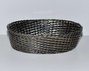 Vintage Silverplated Hand Woven Bread or Fruit Basket, French Farmhouse Style