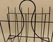 Mid Century Modern Metal Wire and Brass Magazine Rack
